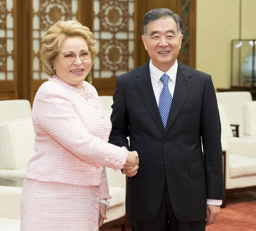 Wang Yang (R), chairman of the National Committee of the Chinese People's Political Consultative Conference (CPPCC), meets with Russian Federation Council Speaker Valentina Matviyenko at the Great Hall of the People in Beijing, capital of China, July 5, 2018.