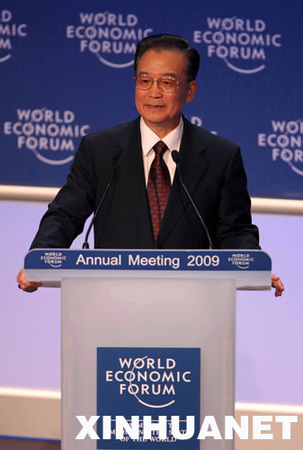 1月28日,中国国务院总理温家宝在瑞士达沃斯世界经济论坛2009年年会上发表特别致辞。新华社记者姚大伟摄