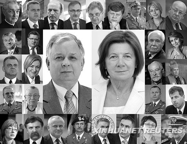 """这张拼版照片显示的是4月10日与波兰总统莱赫·卡钦斯基同机遇难的部分波兰军政要人头像。其中有:波兰""""第一夫人""""、波军总参谋长、波兰空军、海军和陆军司令、波兰国家银行行长、国家安全局局长、议会副议长、外交部和文化部各一名副部长、波兰奥委会主席等。新华社/路透"""