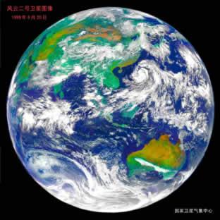 卫星风云二号可实时,连续观察本地区的云图和