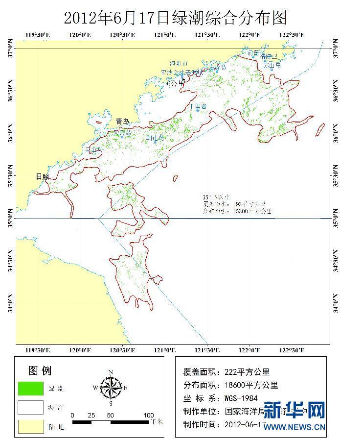 分布面积为18600平方公里,主体分布已抵达山东半岛东南近岸海域,随着