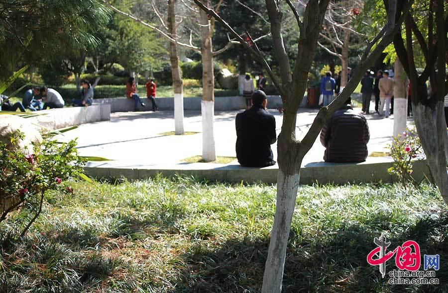 位于云南呈贡的昆明行政中心花园,市民在此休闲、娱乐。