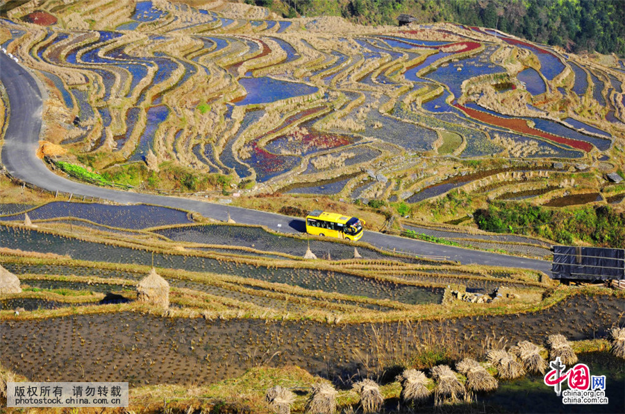 这是2016年1月18日拍摄的贵州省从江县加榜梯田美景.