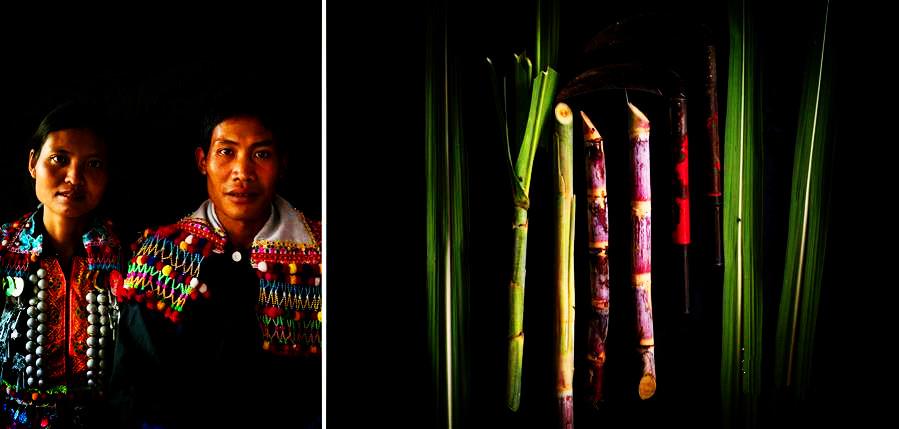云南省德宏州芒市三台山乡邦外村委会上帮村民小组的27岁德昂族村民赵腊孟夫妇及他们种植的甘蔗和使用的镰刀