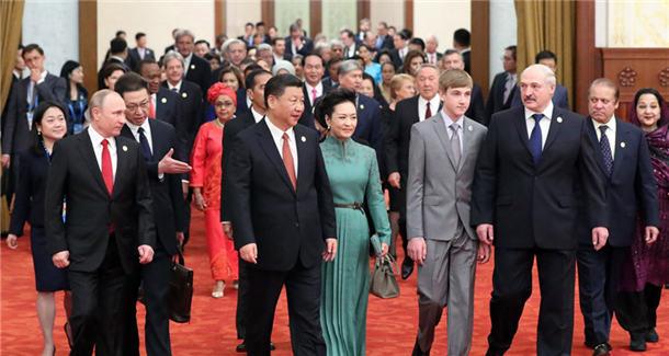 """习近平为出席""""一带一路""""国际合作高峰论坛的外方代表团团长及嘉宾举行欢迎宴会"""