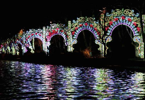 People view an artwork of the Italian Light Sculpture Festival during a trial illumination at Xuanwu Lake Park in Nanjing, capital of east China's Jiangsu Province, January 25, 2010.