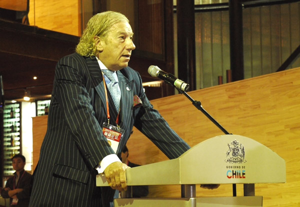 Hernan Somerville, Chile's commissioner general to the Expo, speaks at Chile Pavilion's closing ceremony on Sunday.