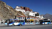 Two new buses run in front of the Potala Palace in Lhasa, capital of the Tibet Autonomous Region on Dec 26, 2010.