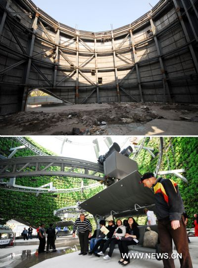Combo pictures taken on April 28, 2010 (below) and Dec. 27, 2010 show the Switzerland Pavilion before and during demolition in Shanghai, east China. The demolition of all pavilions are predicted to be completed by the end of next year.