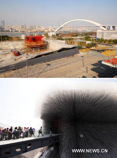 Combo pictures taken on May 3, 2010 (below) and Dec. 27, 2010 show the British Pavilion before and during demolition in Shanghai, east China. The demolition of all pavilions are predicted to be completed by the end of next year.