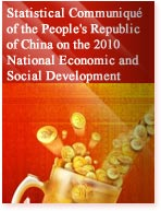 Statistical Communiqué of the People's Republic of China on the 2010 National Economic and Social Development