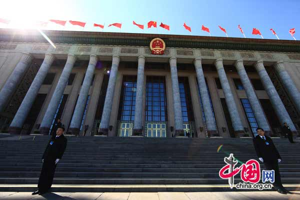 The annual session of National People's Congress (NPC), the country's top legislature, and the Chinese People's Political Consultative Conference (CPPCC) are convened at the Great Hall of the People on the Tian'anmen Square in Beijing from March 3 to 14, 2011.