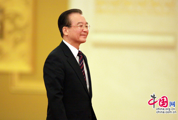 Chinese Premier Wen Jiabao attends a press conference after the closing meeting of the Fourth Session of the 11th National People's Congress (NPC) at the Great Hall of the People in Beijing, China, March 14, 2011. [china.com.cn]