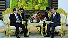 Chinese Foreign Minister Yang Jiechi (R) meets with Yasuo Fukuda, Chairman of the Board of Directors of the Boao Forum for Asia (BFA), also Japan's former prime minister, in Boao, south China's Hainan Province, April 15, 2011.