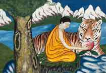 This painting is a typical traditional Tibetan Thangka, with some added elements. It depicts a harmonious and natural scene at the foot of a beautiful snow mountain with a monk feeding a gentle tiger water.