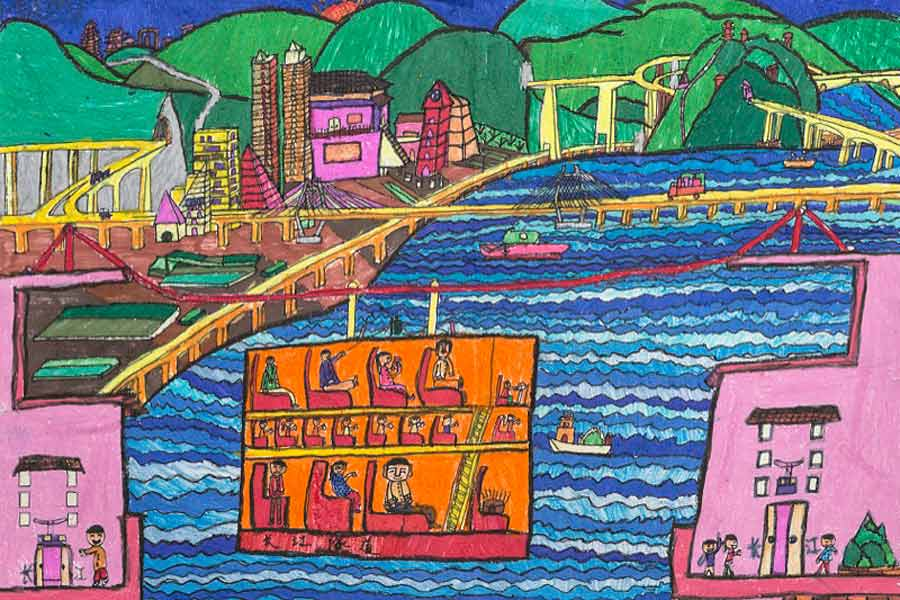 In this painting the young artist has created a cable-car ride that takes passengers across a pleasant river scene. It is particularly special in that the cable-car is eco-friendly; it doesn't emit any oil or gas into the surrounding environment.