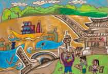In this painting our primary school has built an Environmental Monitoring Station by the temple. With the latest developments in technology, representatives from the station have designed a new energy saving and environment protecting boat.