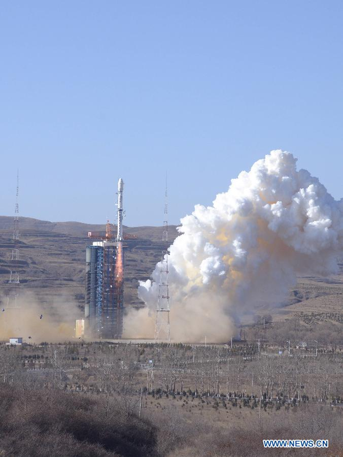 A Chinese Long March-4B rocket carrying the CBERS-4 satellite, jointly developed with Brazil, blasts off in Taiyuan satellite launch center in north China's Shanxi Province, Dec. 7, 2014. It was the 200th launch of the Long March rocket family since April 24, 1970 when a Long March-1 successfully carried China's first satellite, Dongfanghong-1, into space. [Photo/Xinhua]