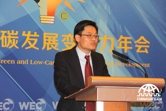 IEEPA secretary-general Jon Li delivers a welcoming speech. [Chinagate.cn by Jiao Meng]