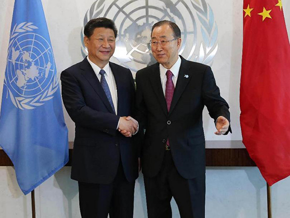 Chinese President Xi Jinping(L) meets with UN Secretary-General Ban Ki-moon at the UN headquarters in New York, Sept. 26, 2015.[Photo/Xinhua]