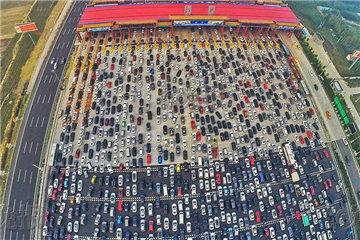 Aerial shots of Beijing highway traffic jam