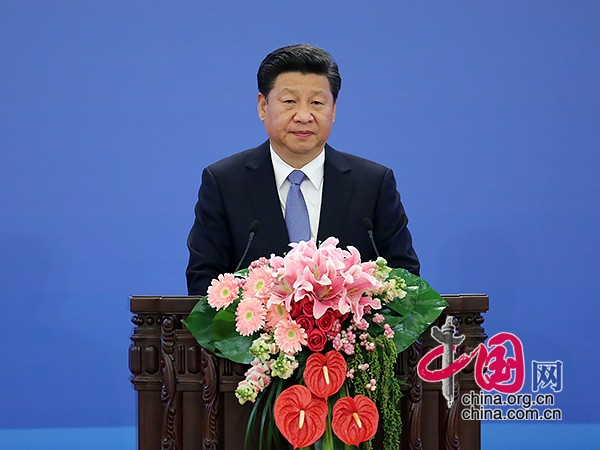 President Xi delivered a keynote speech at the Global Poverty Reduction and Development Forum.[Photo/China.org.cn]