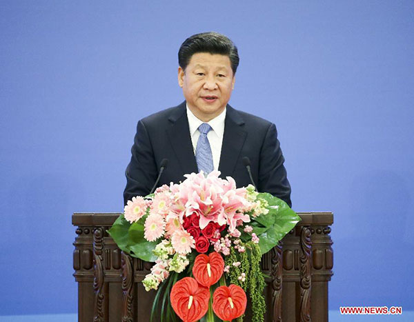Chinese President Xi Jinping addresses the 2015 Global Poverty Reduction and Development Forum in Beijing, capital of China, Oct 16, 2015. [Photo/Xinhua]