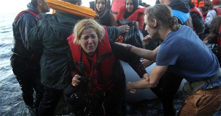 Refugees land at Lesvos island, Greece