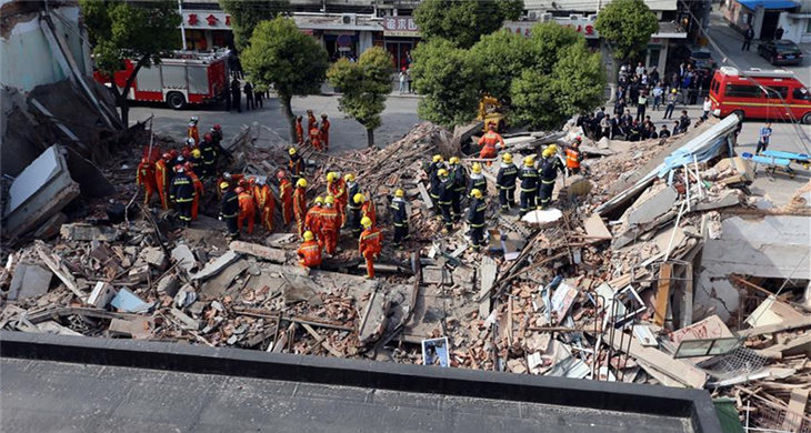 Three-story building collapses in Shanghai