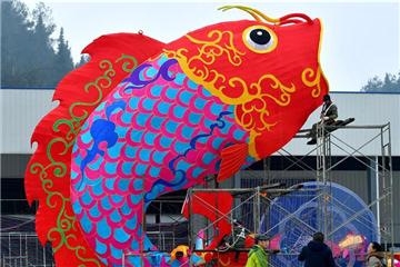 Red lanterns made for Spring Festival