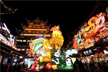 Visitors view lantern fair at Yuyuan Garden in Shanghai