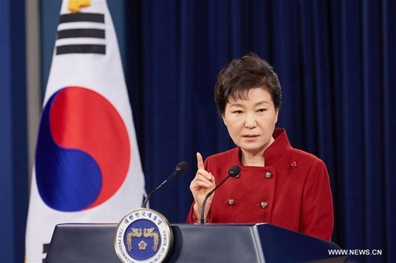 South Korean President Park Geun-hye addresses to the nation at the Presidential Blue House in Seoul, South Korea, Jan. 13, 2016. [Photo/Xinhua]