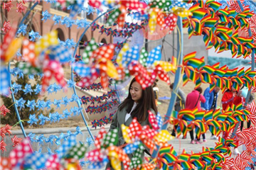 A view of pinwheel decoration in NE China