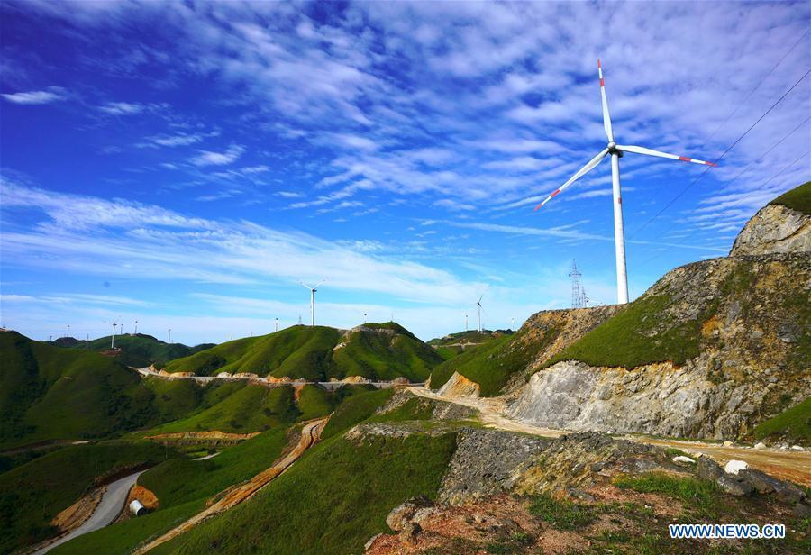 Wind power farms seen on Nanshan Mountain in China's Guangxi
