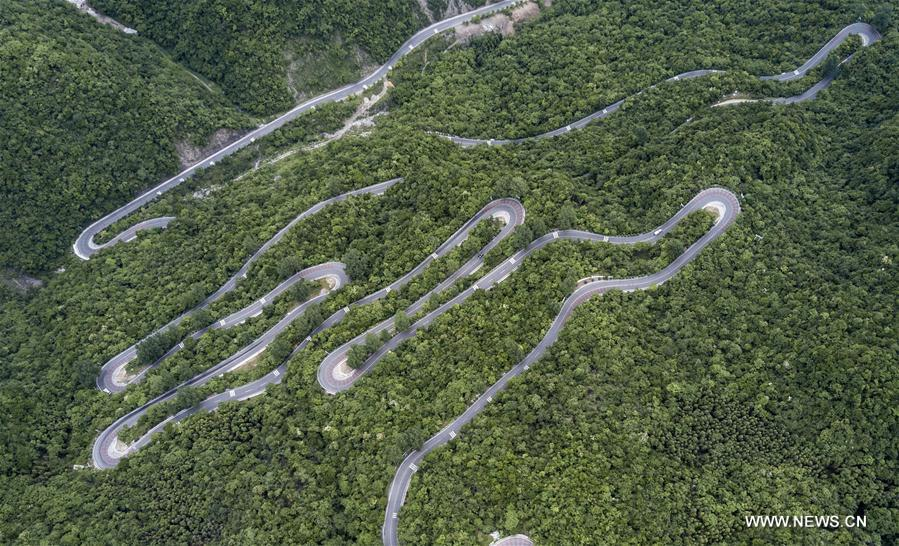 Aerial view of Wudangshan-Shennongjia tourist road