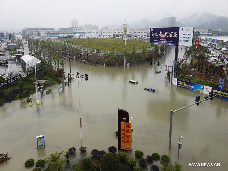 A waterlogged street is seen in Guiyang City, capital of southwest China's Guizhou Province, June 12, 2017. Heavy rain hit Guizhou since Sunday. (Xinhua/Zhang Hui)