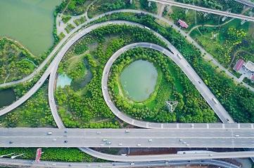 Scenery of renovated Daijiahu lake park in China's Hubei