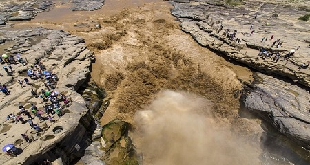 Aerial photos show Hukou Waterfall of Yellow River