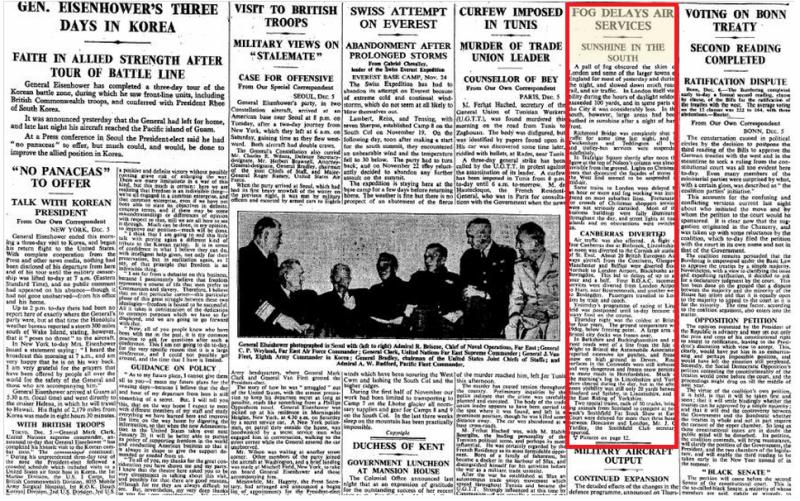 《泰晤士报》1952年12月6日对大雾天气的报道