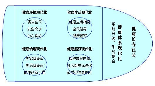 """中国健康现代化的""""健康高铁""""战略(示意图)"""