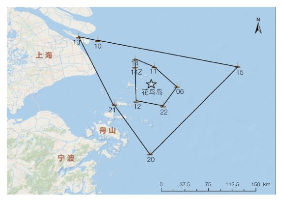 图 1 东海站观测研究站点分布图 浮标观测是东海站的主要观测研究方式,具有全天候、长期连续、实时定点等其他海洋观测手段无法替代的优势,被海洋学家誉为海洋上的地球同步卫星。东海站配置的观测浮标系统有1套直径15m三锚式浮标综合观测平台、4套直径10m的大型综合观测浮标、1套直径3m的综合观测浮标、3套船型观测浮标、3套潮位浮标、4套波浪浮标。此外,还建设有10套岛基和陆基自动气象站等其他类型观测系统以辅助浮标观测网络进行海洋气象、水文物理、水质参数的长期、定点连续观测